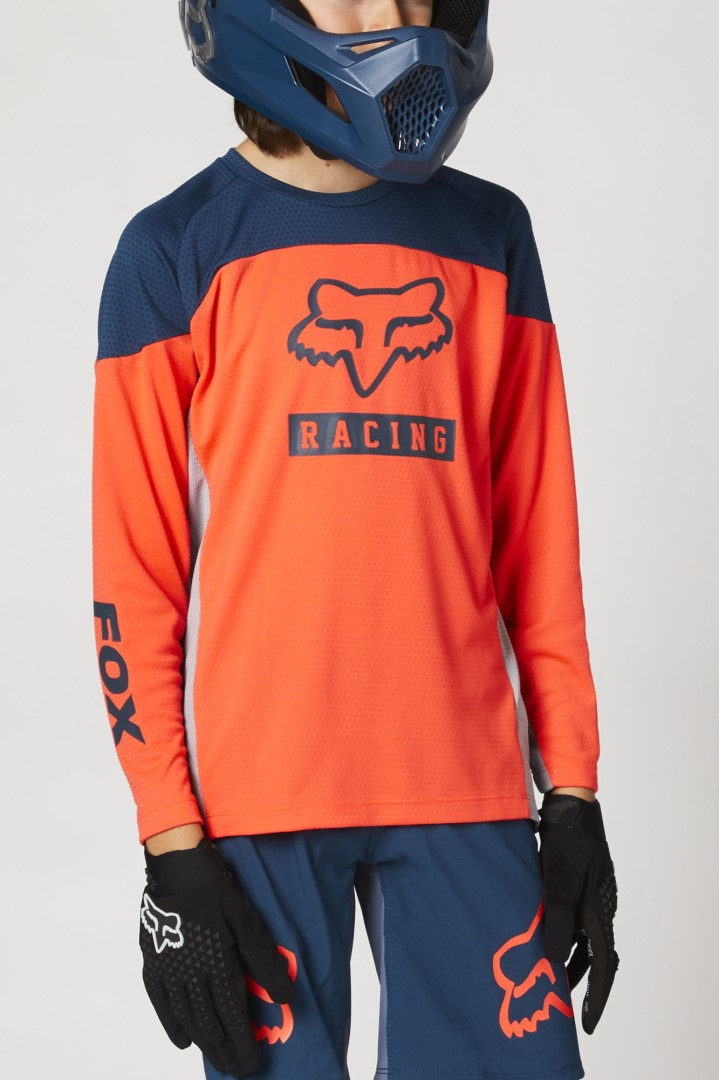 Fox Yth Defend Ls Jersey Grphc 2 Atomic Punch